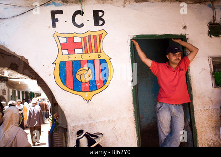 Symbol of FC Barcelona painted on a house wall, Tetouan, Marocco - Stock Photo