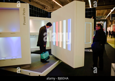 Paris, France, Businessmen Visiting, Construction Equipment Trade Show, LED Lighting Company Display, - Stock Photo