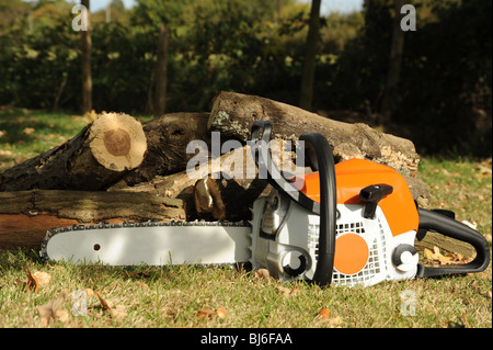 Chainsaw photographed in front of logs - Stock Photo