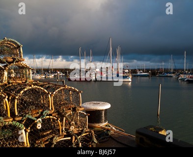 The harbour and marina at Scarborough South Bay in North Yorkshire England UK with fishing boats and pleasure craft - Stock Photo
