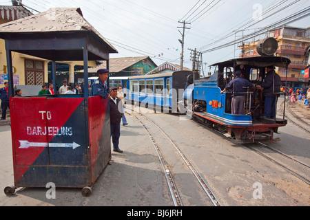 Darjeeling Himalayan Railway Toy Train in Darjeeling India - Stock Photo