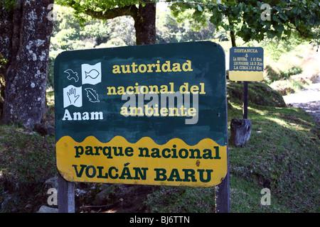 ANAM sign at entrance to Volcan Baru National Park, near Boquete, Chiriqui, Panama - Stock Photo