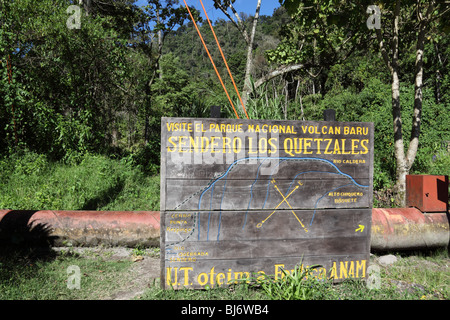 ANAM sign at start of Quetzal Trail, Volcan Baru National Park, near Boquete, Chiriqui, Panama - Stock Photo