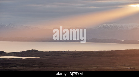 Sunbeam over The Minch. Seen from Trotternish, Isle of Skye, Scotland, UK. - Stock Photo
