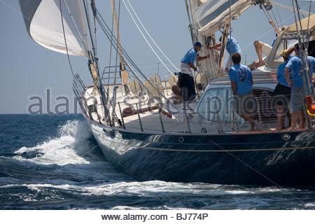 Scheherazade at The Super Yacht Cup, Palma de Mallorca, Spain - Stock Photo