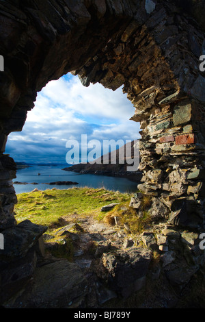 Scotland, Scottish Highlands, Strome Castle. The enigmatic ruins of Strome Castle, situated alongside Loch Carron. - Stock Photo