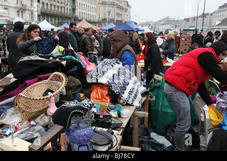 Naschmarkt, flea market in Vienna. - Stock Photo