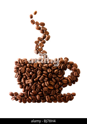 Coffee beans in the shape of a coffee cup. Stock Photo - Stock Photo