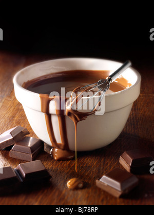 Melted Choclate being stirred in a bowl - Stock Photos. - Stock Photo