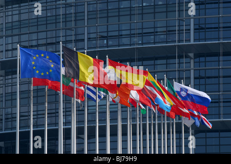 Flags of European Union member states in fornt of the European Parliament, Strasbourg, France