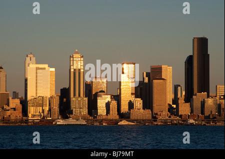 Seattle skyline from West Seattle and Elliott Bay Washington State USA - Stock Photo