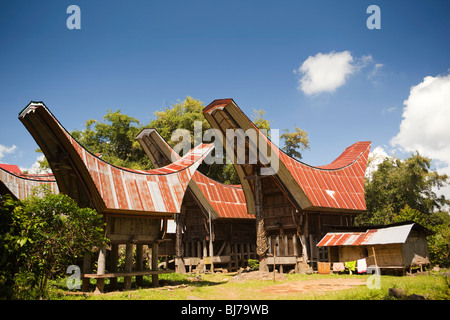 Indonesia, Sulawesi, Tana Toraja, Pana, traditional tongkonan houses in remote rural village - Stock Photo