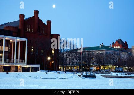 University of Madison buildings seen from frozen Lake Mendota. - Stock Photo