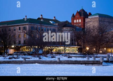 Historic Buildings - University of Wisconsin - seen from frozen Lake Mendota. - Stock Photo