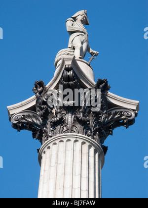 Nelson's Column, Trafalgar Square, London, England - Stock Photo