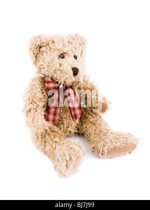 Brown teddy-bear on white background. - Stock Photo