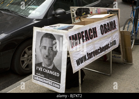 LaRouche information table on the street in NYC. - Stock Photo