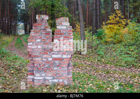 Figures made of stones from the demolition of the concentration camp, memorial to the former concentration camp - Stock Photo