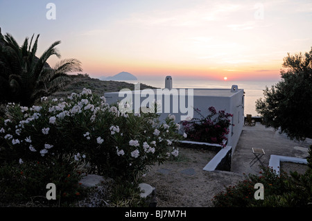 A sunset over the Mediterranean Sea, seen from a whitewashed villa in the village of Pollara, on the Island of Salina, - Stock Photo