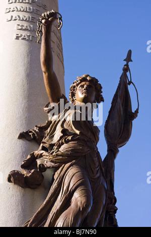 Statue in the Boston Common made by the Henry Bonnard Bronze Company commemorating the Boston Massacre, Boston Massachusetts. - Stock Photo