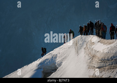 hikers on top of Mont Blanc, Monte Bianco, Aiguille di Midi, French Alps, Haute Savoie, France, Europe, Alpi - Stock Photo