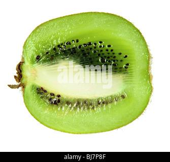 Slice of kiwi fruit isolated on white - Stock Photo