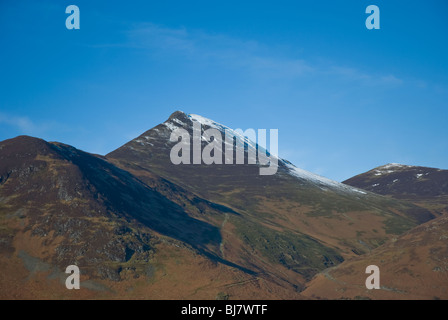 Snow capped Causey Pike in the Cumbrian Lake District - Stock Photo