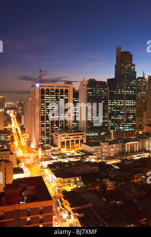 Night shot of business district Makati; Manila; Philippines - Stock Photo