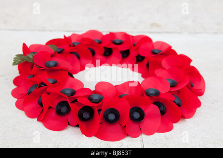 A red poppy wreath - Stock Photo