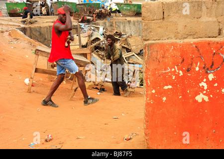 Africa Angola Luanda Bairro Orange Street - Stock Photo