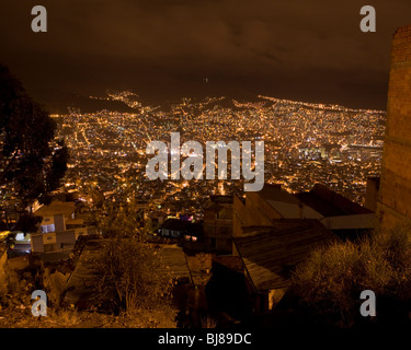 View of la paz, bolivia at night, as seen from el alto - Stock Photo