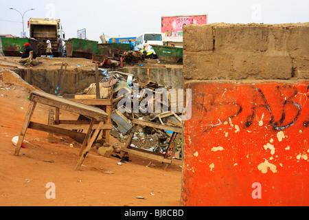 Africa Angola Luanda Bairro Orange Rubbish Tips - Stock Photo