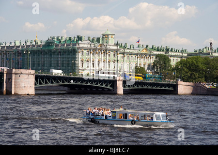 The State Hermitage Museum in St. Petersburg, Russia fronting the river neva - Stock Photo