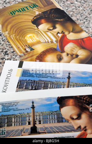Two tickets to the State Hermitage Museum and a brief guide to the museum. Saint Petersburg, Leningrad region, Russia. - Stock Photo