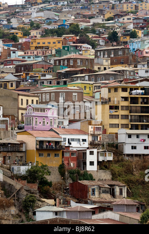 Colorful houses climbing the hillside in Valparaiso, Chile, South America. - Stock Photo