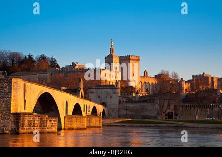 PALAIS DES PAPES AND BENEZET BRIDGE, AVIGNON, FRANCE - Stock Photo