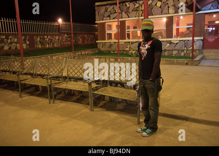Africa Angola Lubango Night Street Young Men - Stock Photo