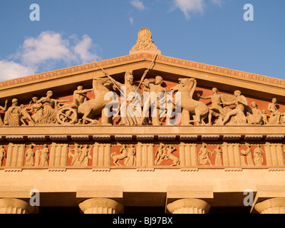 West pediment of the Parthenon replican in Nashville, Tennessee. - Stock Photo