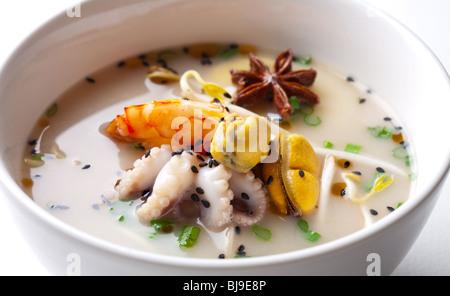 Seafood soup close - Stock Photo