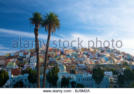 Pastel coloured houses Las Palmas Gran Canaria Canary Islands Spain - Stock Photo