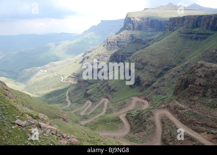 A view of the Sani Pass, the border between South Africa and Lesotho, from the top. - Stock Photo
