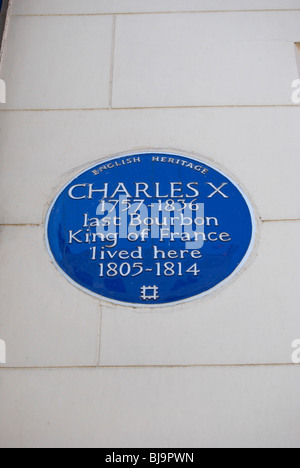 english heritage blue plaque marking a the home in exile of charles x, last bourbon king of france, in mayfair, - Stock Photo