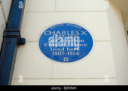 english heritage blue plaque marking the home in exile of charles x, last bourbon king of france, in mayfair, london - Stock Photo