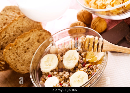 healthy breakfast composition on the table - Stock Photo