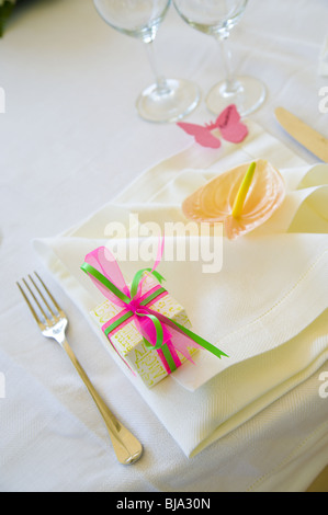 wedding dinner table ornaments and setting - Stock Photo