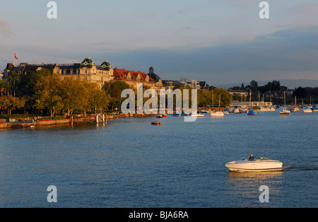 View from lake Zurich to the old town, Zurich, Switzerland - Stock Photo