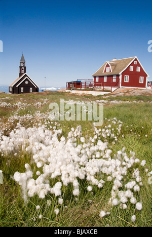 Ilulissat (Danish: Jakobshavn) is the third largest settlement in Greenland after Nuuk and Sisimiut. - Stock Photo