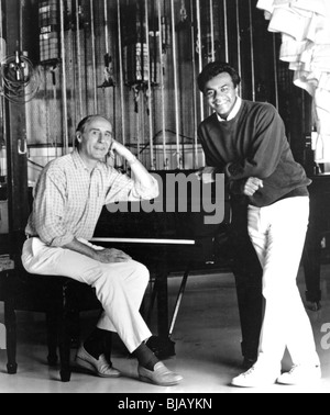 HENRY MANCINI - US light music composer (1924-1994) at left with Johnny Mathis who made his song Moon River a hit - Stock Photo
