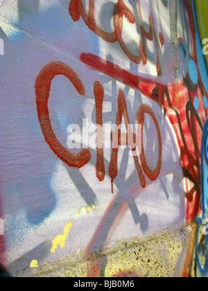 ciao word graffiti on wall - Stock Photo