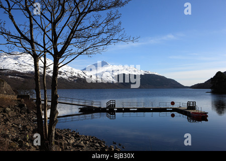 Loch Lomond from Inveruglas with a snow covered Ben Lomond in the background - Stock Photo